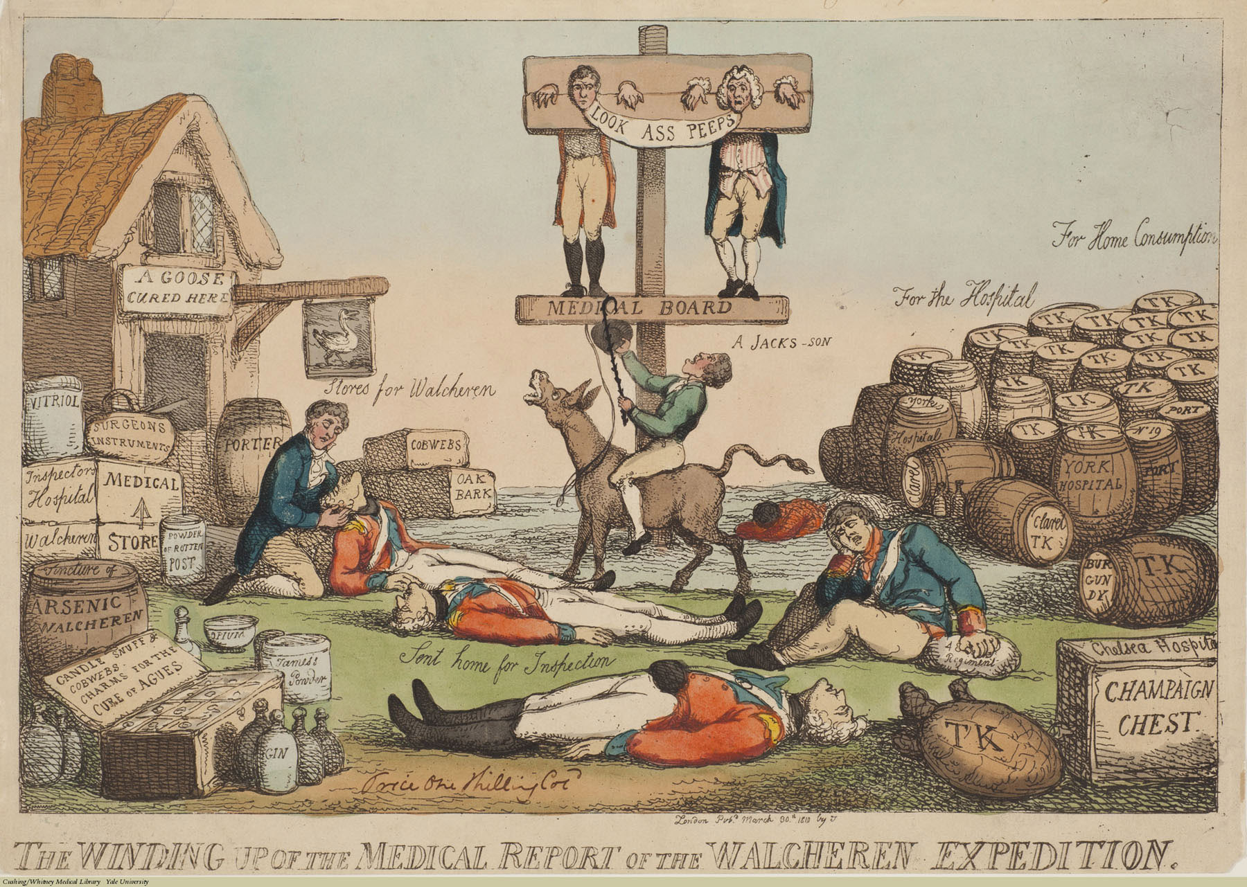 The Winding Up of the Medical Report of the Walcheren Expedition. Thomas Rowlandson, Etching coloured, 1810. Subject: Lucas Pepys (1742-1830), Robert Jackson (1750-1827), Thomas Keate (1745-1821), Dr. James' Fever Powder, Chelsea Hospital, Walcheren Campaign, Military Medicine, Medical Boards, Drugs.