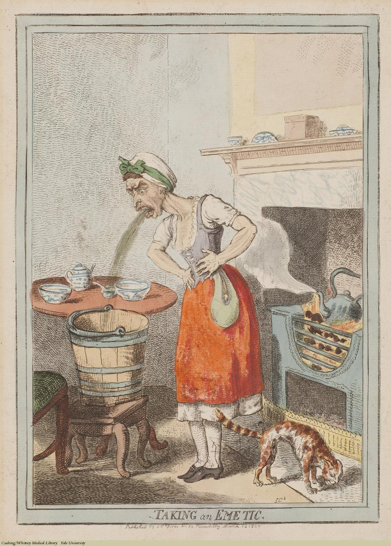 Taking An Emetic. Isaac Cruikshank, Laid, 1800. Subject: Emetics, Vomiting.