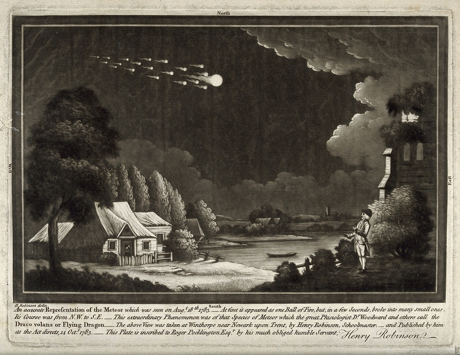 Astronomy: a meteor shower in the night sky. Mezzotint, after 1783 – Source.