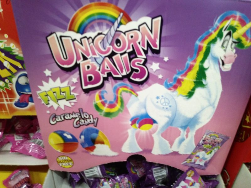 "Display of chewing gums labelled and illustrated as ""Unicorn Balls"""