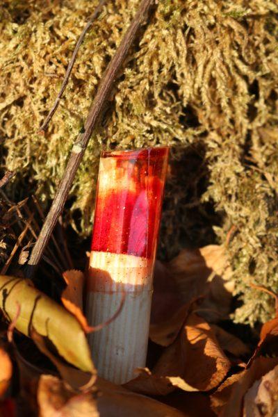 owel with red/orange resin