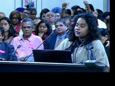 Thenmozhi Soundararajan testifying - from twitter @dalithistorynow