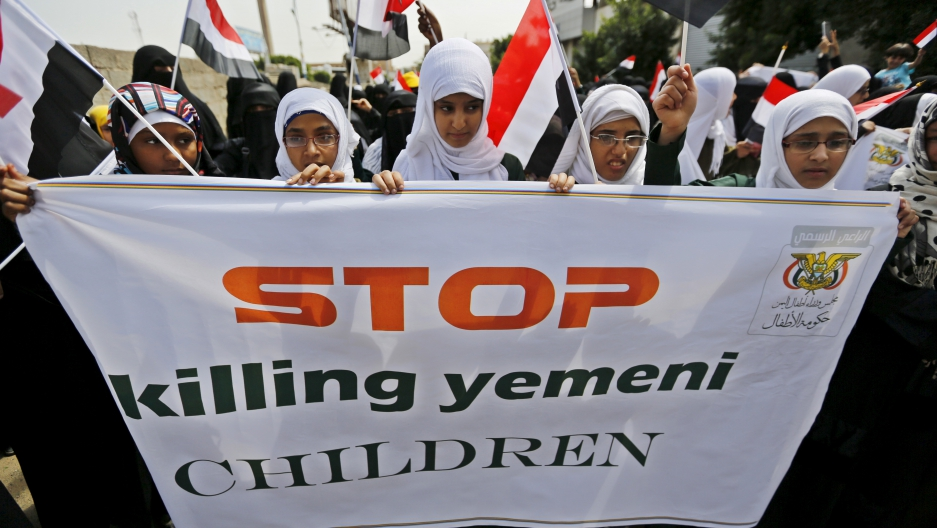 e against the Saudi-led coalition outside the offices of the United Nations in Yemen's capital Sanaa August 11, 2015. Reuters/Khaled Abdulah