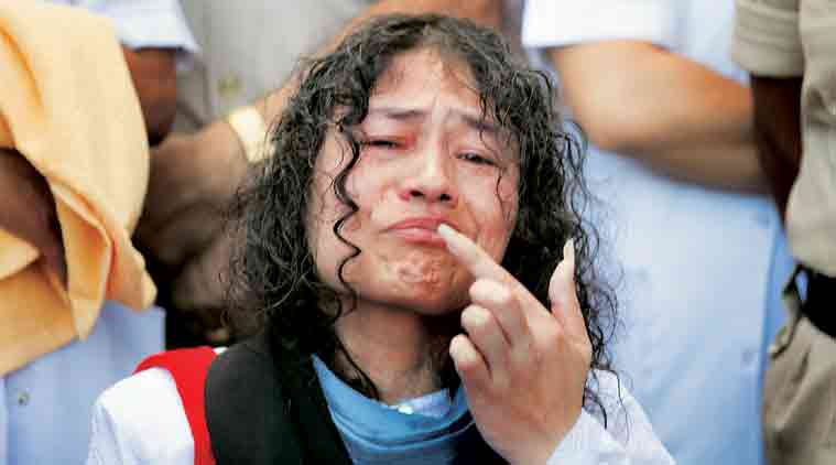 Irom Sharmila breaking fast -Image credit Indian Express