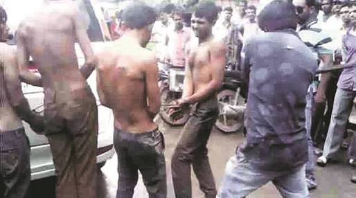 Dalits mercilessly beaten by Hindutva groups for allegedly killing a cow