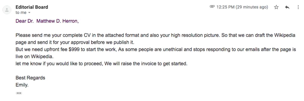 Wikipedia scam