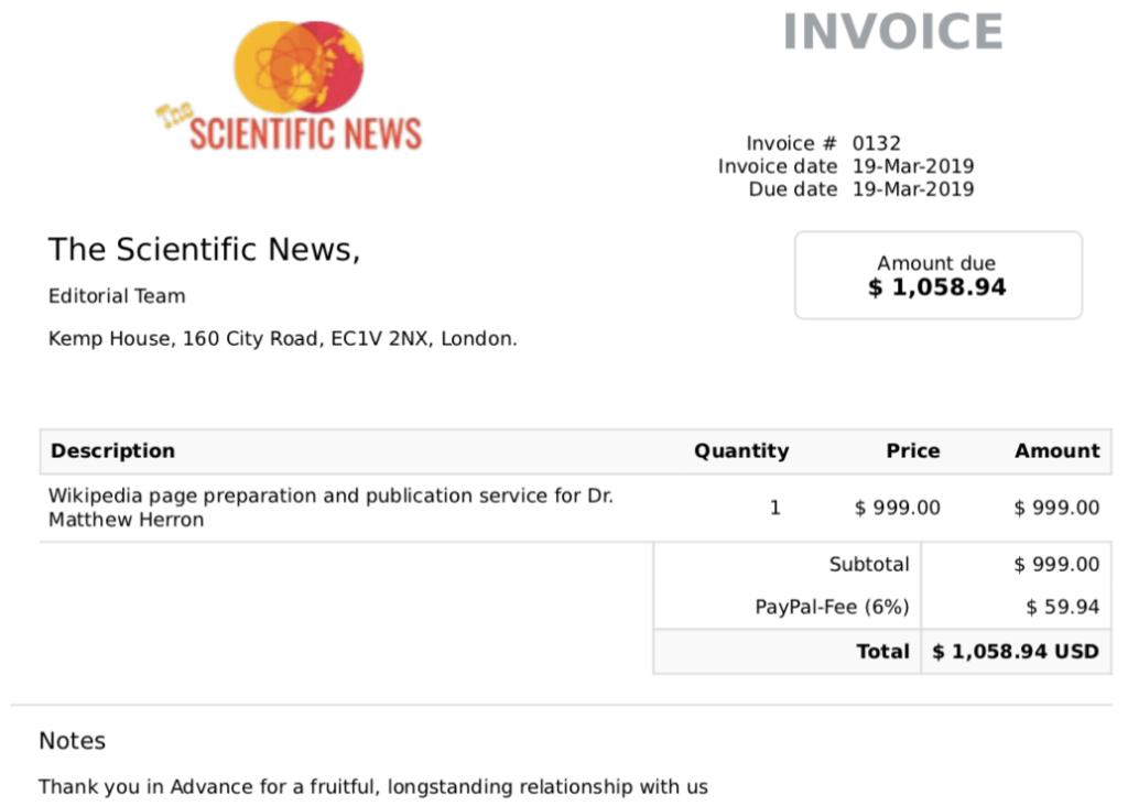 Wikipedia scam invoice