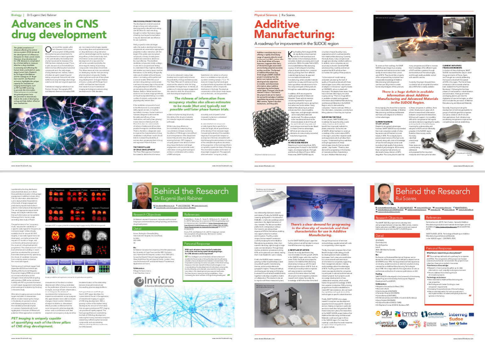 Research Outreach (left) and Research Features (right) articles.