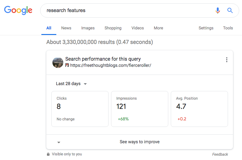 Google results for Research Features