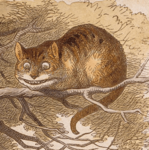 "Sir John Tenniel's hand-colored proof of Cheshire Cat in the Tree Above Alice for The Nursery ""Alice"""
