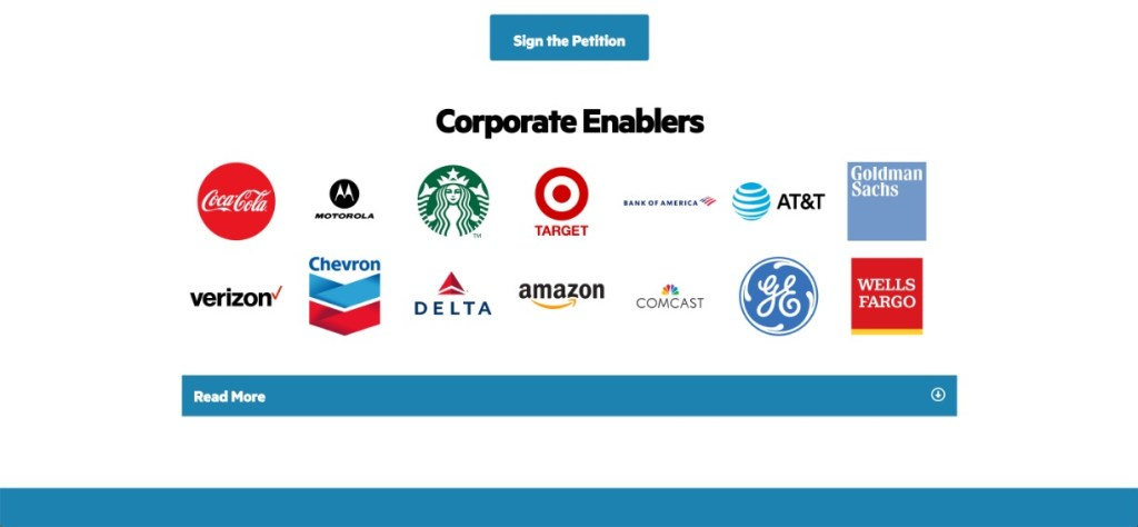 Corporate Enablers, followed by an array of brand logos of Coca-Cola, Motorola, Starbucks, Target, Bank of America, AT&T, Goldman Sachs, Verizon, Chevron, Delta Airlines, Amazon, Comcast, GE and Wells Fargo.