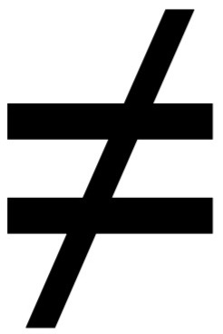 equals sign with a slash through it