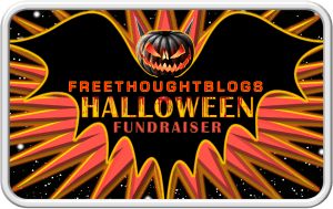 Image shows a stylized bat with a jack'o'lantern for a head, and the words
