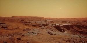 arid, reddish, martian landscape.