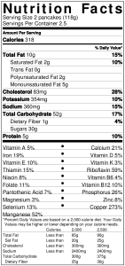Ultimate Maple Pancakes Nutrition Label