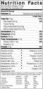Nutrition Facts for Zahav's Basic Tehina Sauce