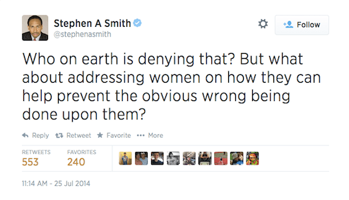 But what about addressing women on how they can help prevent the obvious wrong done upon them?