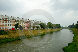 Stock Photos - Houses by river