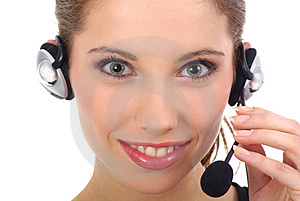 Stock Images - Beautiful customer support girl