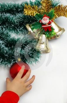 Stock Photography - Handbells a red sphere and a bow Christmas decoration
