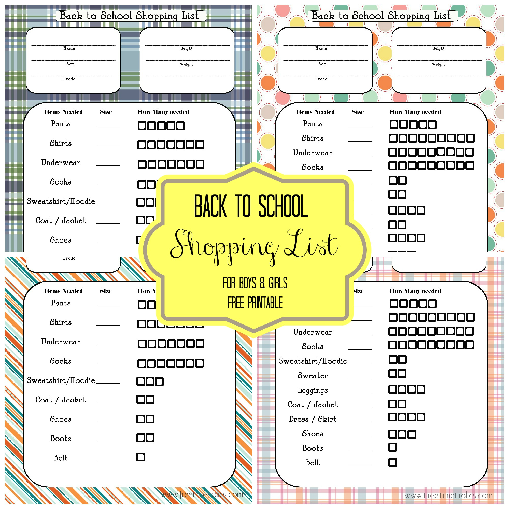 Back To School Blast Shopping List Free Printable