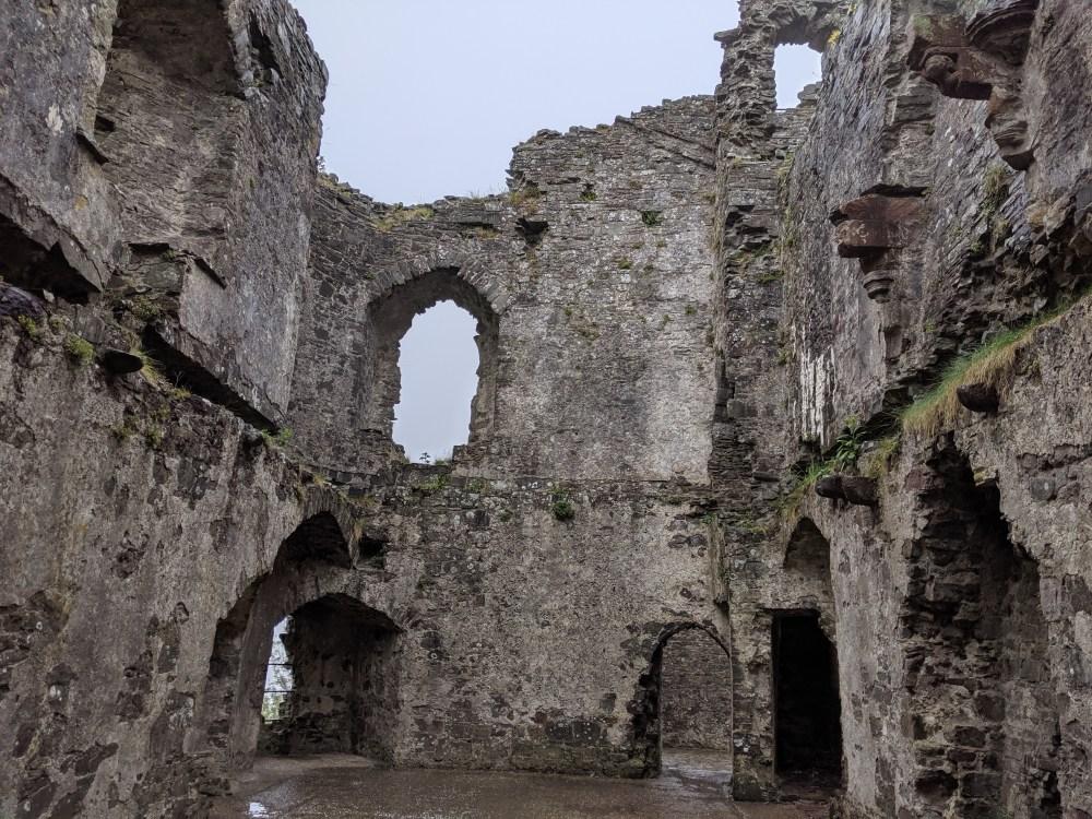 Inside Llansteffan castle.
