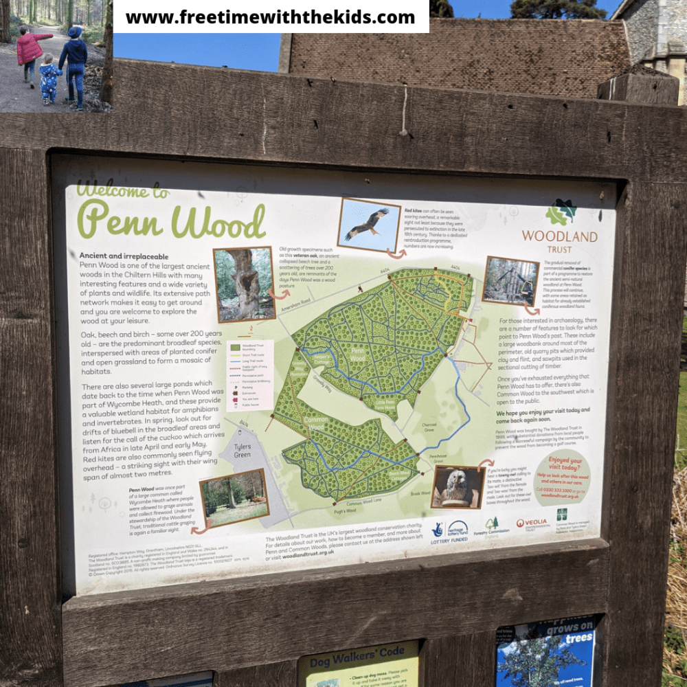 Penn Woods map | Amersham, Buckinghamshire | Woodland walks | Bluebells | Review by Free Time with the Kids