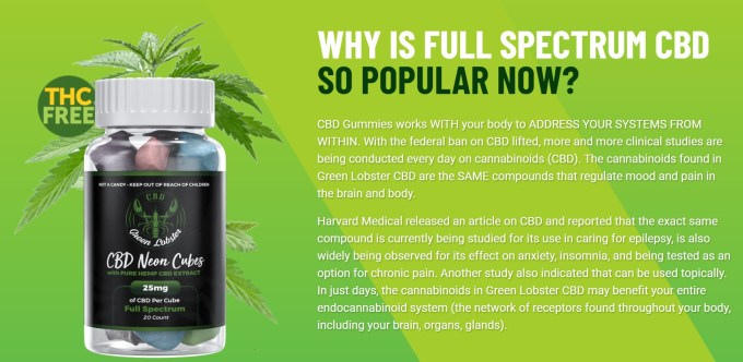 Green Lobster CBD Neon Cubes Gummies Why Need