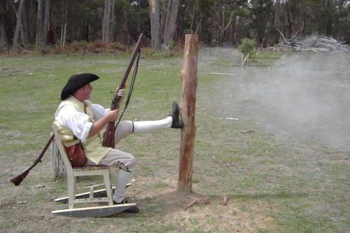 """Paul """"Le Reynard"""" Sly observes the target with satisfaction in our 2nd Hershel House split-the-ball shoot."""