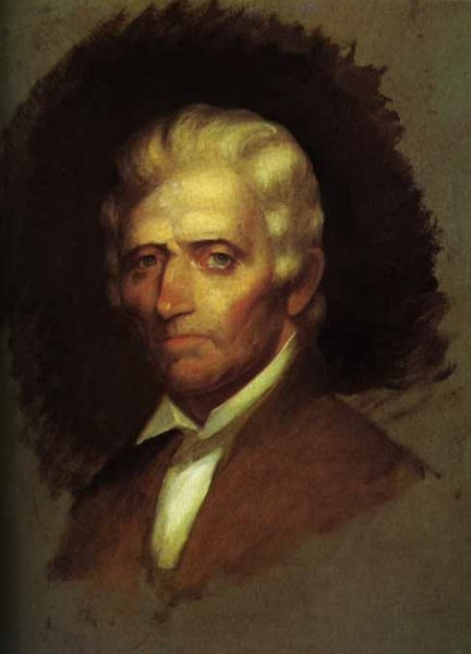 1820 unfinished portrait of Daniel Boone by Chester Harding-the only portrait made from life.