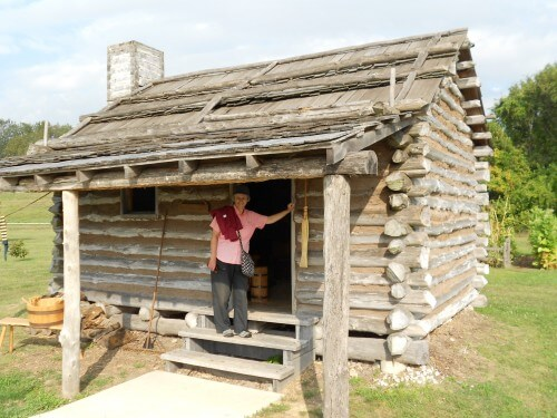 Cabin on site, furnished with tools, furniture & period foodstuffs gets the nod from Kay.