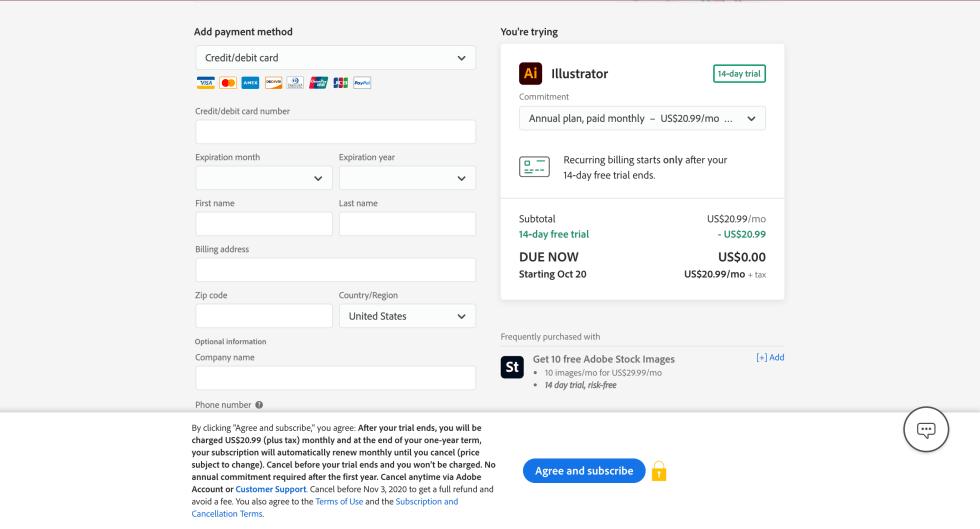Adobe Illustrator Credit Card Sign-up Screenshot
