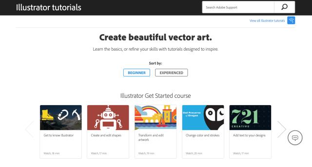 Adobe Illustrator Tutorials Page Screenshot