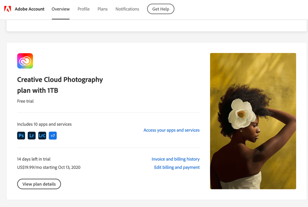 Adobe Photoshop free trial cancellation