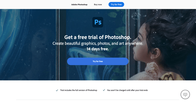 Adobe Photoshop Free Trial welcome page