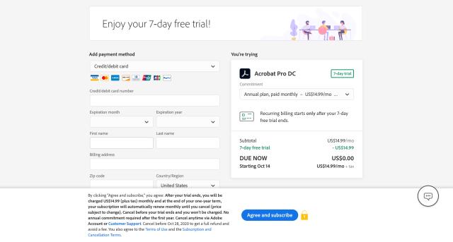 Adobe Acrobat Pro Free Trial Credit Card Page