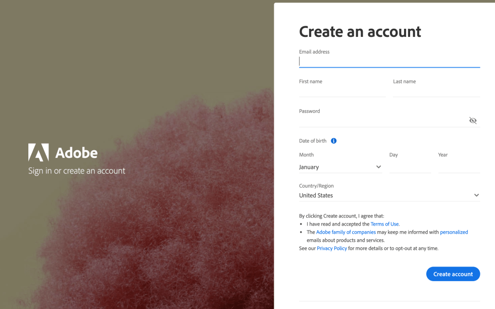 Create Account for Adobe Animate Free Trial