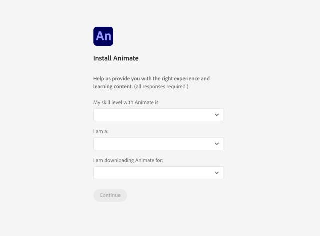 Input Adobe Animate Skill Level Information