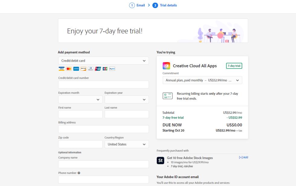 Adobe Audition Checkout Page
