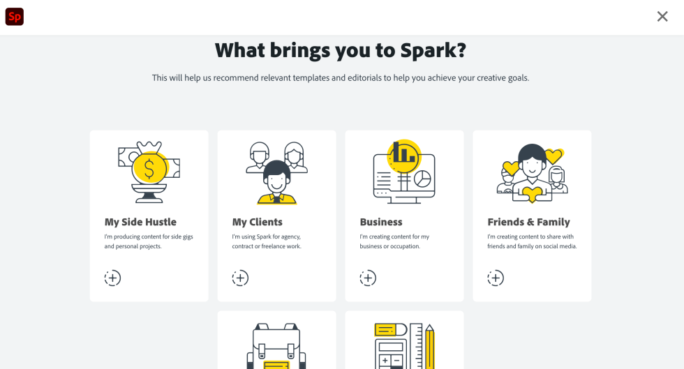Adobe Spark Onboarding Page Screenshot