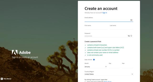 Adobe Spark Email Account Creation Screenshot