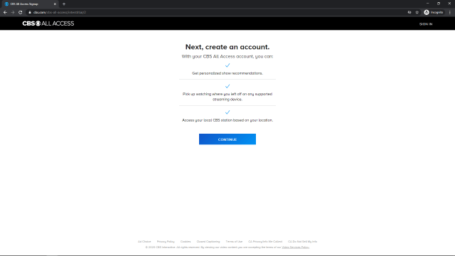 CBS All Access Create Account Page 1