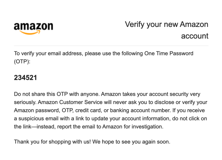 Verify Amazon Prime Account