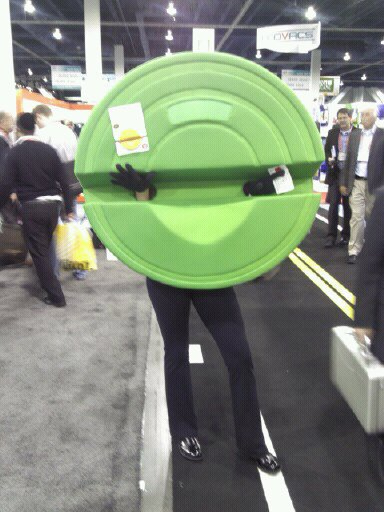 Woman on CES Show Floor dressed as The Stump. That's right, like a tree stump.