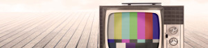 TV with test pattern on empty boardwalk