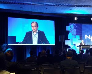 Google's president of global partnerships Daniel Alegre during a speech at the NAB Show