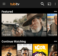 The Tubi TV home screen on Android