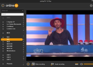 onlineTV application window showing Ellen on NBC New York