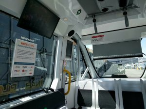 Interior of the autonomous vehicle at NAB, with the ATSC 3.0 receiver