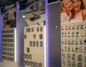 Rows of phone chargers at CES